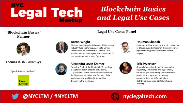 "Reminder:  ""Blockchain Basics and Legal Use Cases"" #NYCLTM Tuesday (11/7)"