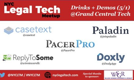 NYC Legal Tech Meetup:  Drinks + Demos (5/1 @Grand Central Tech)